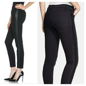 FRAME Denim Skinny Tuxe Perforated Leather Jeans